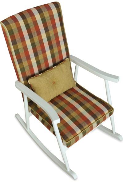 Asedia Teksas Lake Beyaz Ekose Döşemeli Sallanan Sandalye