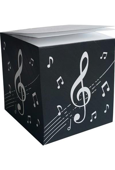 DirektAl Müzik Notalı Küp Notluk - Yenilik, Sırttan Ciltli