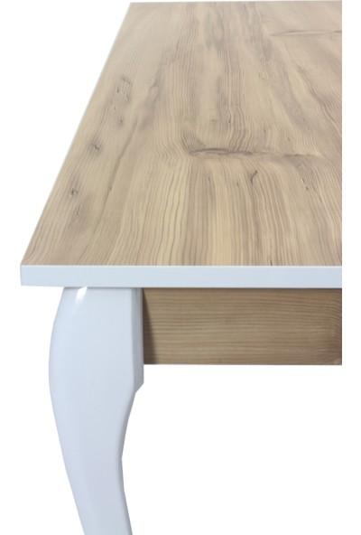 Sarıkaya Mobilya Pia Yemek Masası 140 x 80 cm Beyaz x Keçe