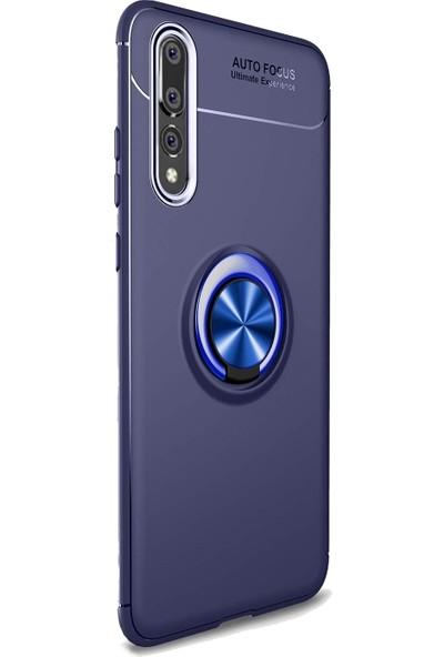 DVR Huawei P20 Pro Silikon Kılıf Ravel Soft Yüzüklü Standlı (Lacivert) + Cam Ekran Koruyucu