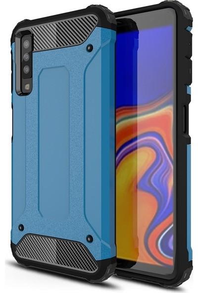 DVR Samsung Galaxy A7 2018 Kılıf Çift Katmanlı Crash Kapak Darbe Emici (Mavi)