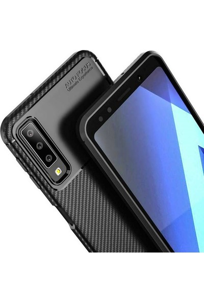 DVR Samsung Galaxy A7 2018 Silikon Kılıf Soft Negro Karbon Darbe Emici (Lacivert) + Tam Ekran Cam Koruyucu