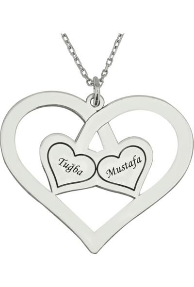 Grandhanra İsimli Kalp İçinde Kalp Gümüş Kolye