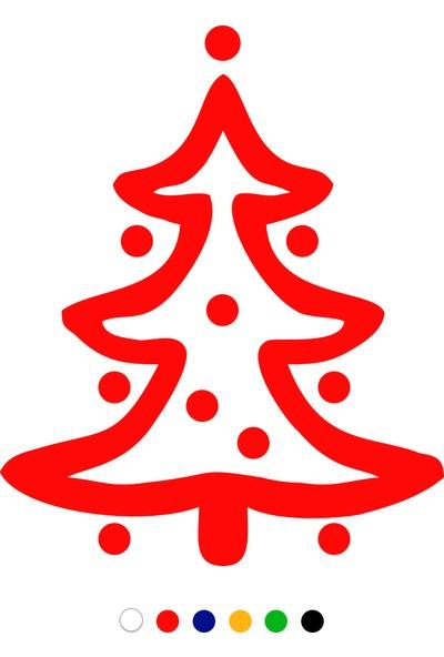 New Jargon Oval Süslemeli Yılbaşı Ağacı Sticker Çıkartma - Kırmızı