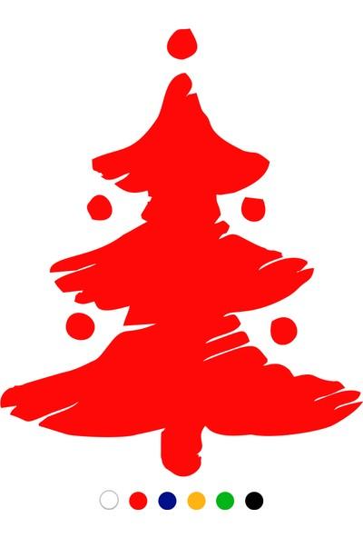New Jargon Çizim Yılbaşı Ağacı Sticker Çıkartma Süslemesi - Kırmızı