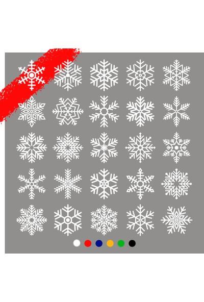 New Jargon 25 Adet Farklı Kar Tanesi Sticker Çıkartması - Beyaz