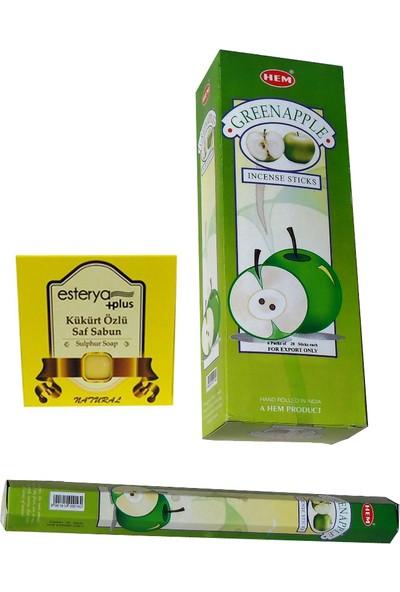 Hem Green Apple Yeşil Elma 6 Adet Tütsü (120 Adet Çubuk) ve Esterya Plus Kükürt Sabunu