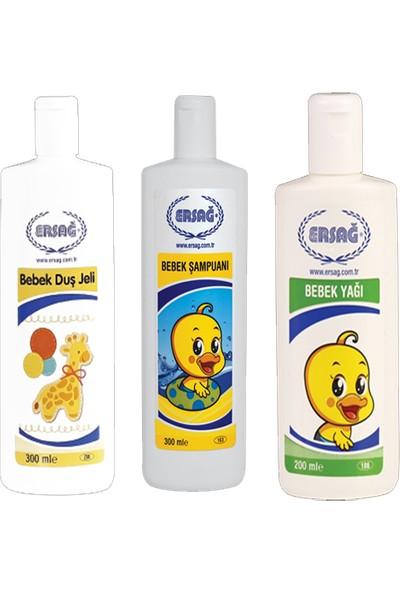 Ersağ Bebek Şampuanı+Bebek Yağı+Bebek Duş Jeli