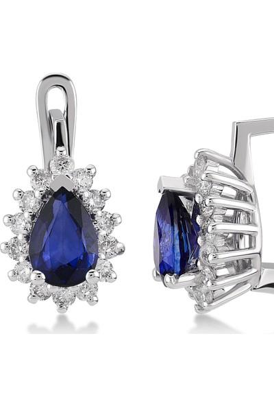 D Diamond 1,27 Karat Pırlanta Safir Küpe (Altın)