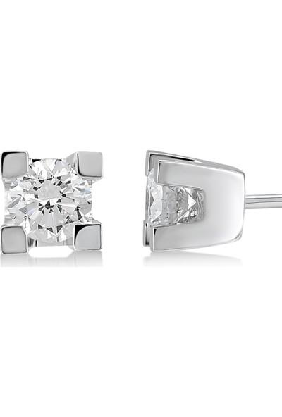 D Diamond 0,20 Karat Pırlanta Tektaş Küpe (Altın)