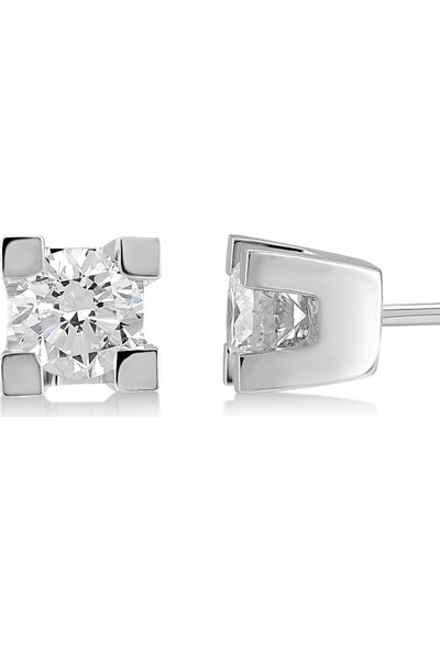 D Diamond 0,30 Karat Pırlanta Tektaş Küpe (Altın)