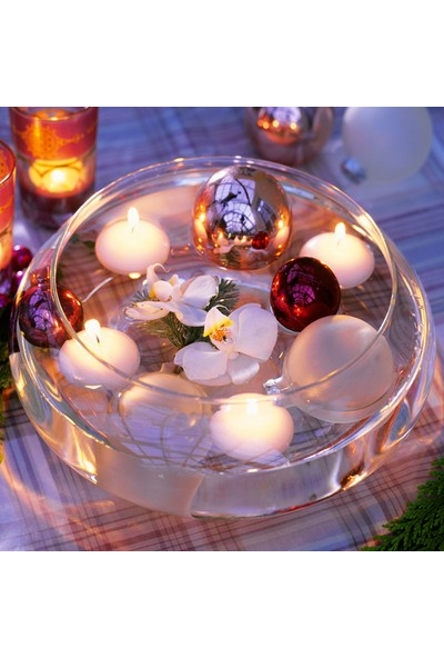 Happy Candle 8 Adet Beyaz Yüzen Tea Light Mum Mm06By-8
