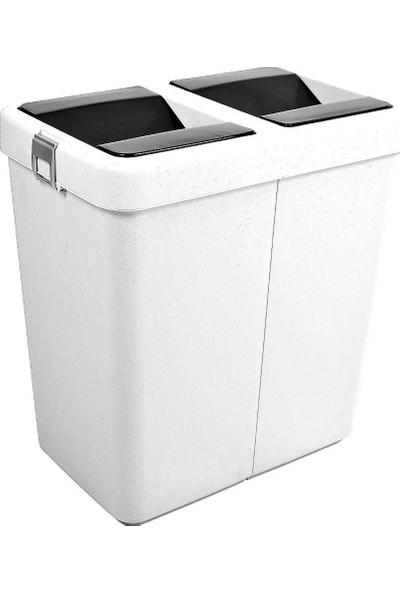 Motek Hassas Kapaklı Ofis İçin Çok Amaçlı Çöp Kutusu 80 Lt Beyaz