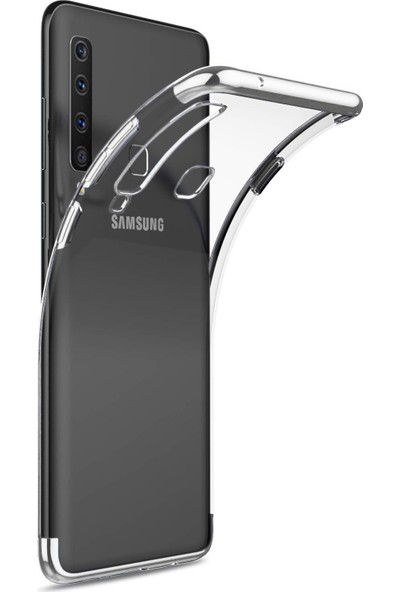 Case 4U Samsung Galaxy A9 2018 Kılıf 4 Köşe Renkli Şeffaf Lazer Silikon Glitter Gümüş
