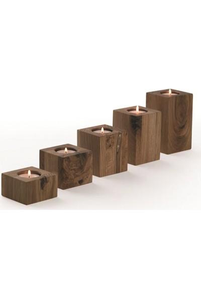Qtük 5li Kare Kütük Mumluk 5 x 8 x 11 x 14 x 17 cm