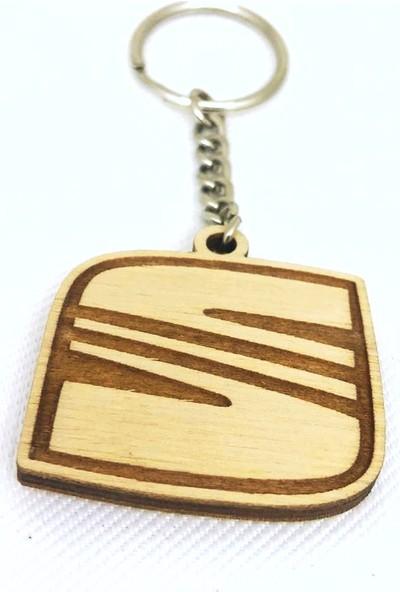 Asr Seat Logo 2 li Lüks Araç Boyun Yastığı Siyah ve Ahşap Logo Anahtarlık