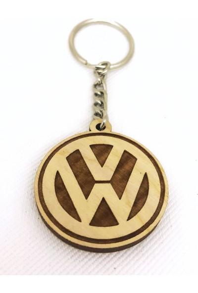Asr Volkswagen 2 li Lüks Araç Boyun Yastığı Siyah ve Ahşap Logo Anahtarlık
