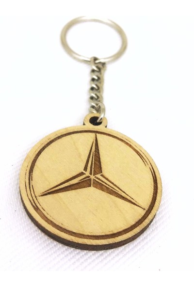 Asr Mercedes Benz 2 li Lüks Araç Boyun Yastığı Siyah ve Ahşap Logo Anahtarlık