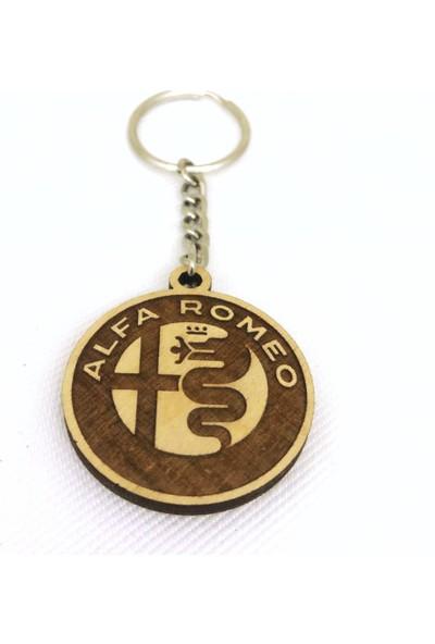 Asr Alfa Romeo 2 li Lüks Araç Boyun Yastığı Siyah ve Ahşap Logo Anahtarlık