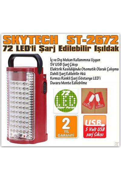 Skytech St-2672 Şarjlı Işıldak 72 Süper Parlak Ledli Işıldak