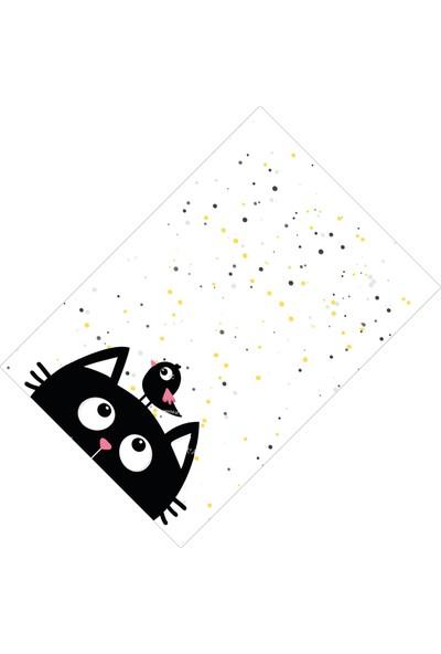Cici Halı Örtüsü Noktalı Zemin ve Siyah Kedi Lastikli Halı Örtüsü-150x233