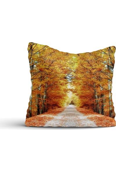 Cici Halı Sonbahar Temalı Ağaçlar Kırlent Kılıfı-42x42