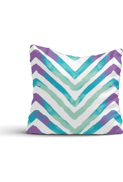 Cici Halı Zigzag Desenli Soft Renkli Kırlent Kılıfı-42x42