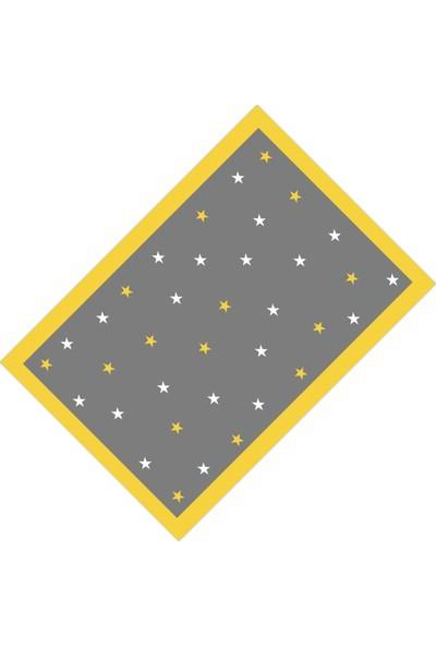 Cici Halı Sarı Kenar Gri Zemin ve Yıldızlar Erkek Çocuk Halısı-160x230