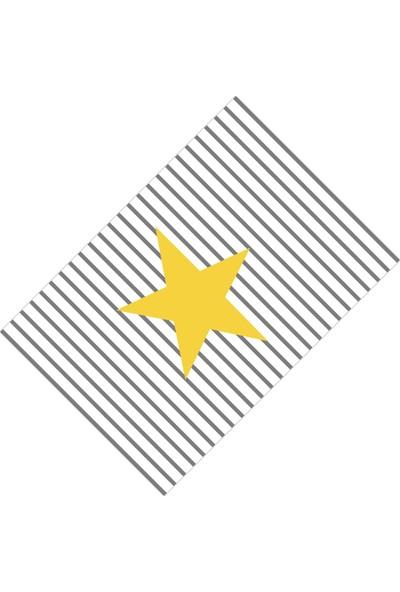 Cici Halı Büyük Sarı Yıldız ve Çizgiler Erkek Çocuk Halısı-133x190