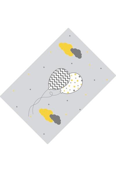 Cici Halı Gri Zemin Desenli Balon ve Bulutlar Erkek Çocuk Halısı-90x200