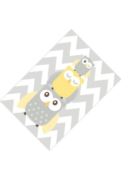 Cici Halı Gri Zigzag Zemin ve Sevimli Baykuşlar Erkek Çocuk Halısı-133x190