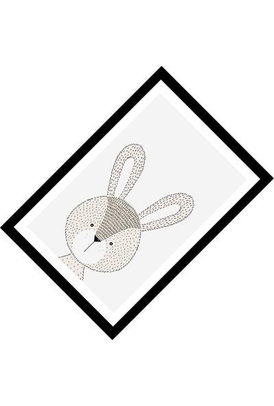 Cici Halı Sevimli Tavşan ve Siyah Çerçeve Erkek Çocuk Halısı-133x190