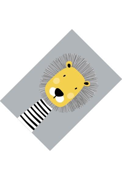 Cici Halı Gri Zemin Sevimli Aslan Erkek Çocuk Halısı-90x200