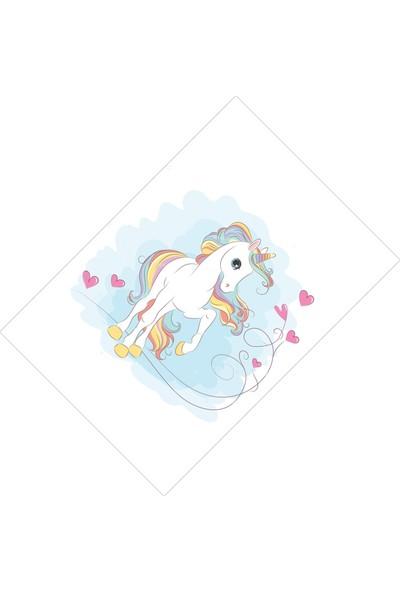 Cici Halı Sevimli Boynuzlu At Kız Çocuk Halısı-90x200