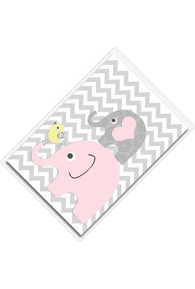 Cici Halı Pembe Gri Fil Sarı Kuş Zigzag Zemin Kız Çocuk Halısı-90x200