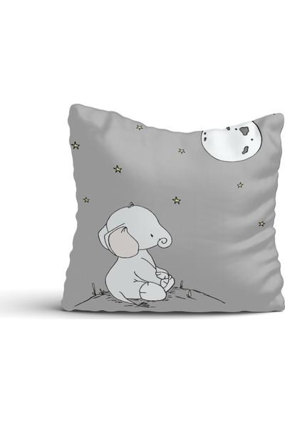 Cici Halı Sevimli Fil Ay ve Yıldızlar Kırlent Kılıfı-42x42