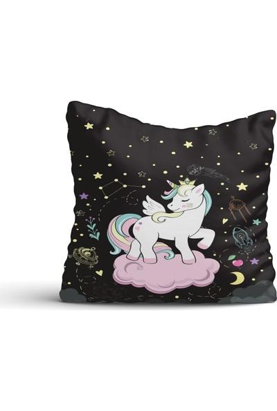 Cici Halı Unicon Kanatlı Beyaz Pony At Kırlent Kılıfı-42x42
