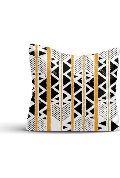 Cici Halı Siyah Beyaz Desen Turuncu Çizgili Kırlent Kılıfı-45x45