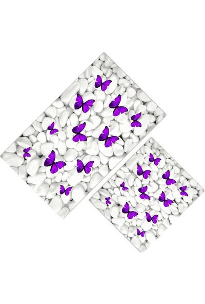 Cici Halı Beyaz Taş Üzeri Mor Kelebekler Klozet Takımı-80x150-50x60