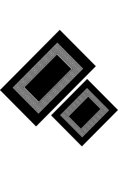Cici Halı Siyah Zemin Kenar Beyaz Desenli Klozet Takımı-Yuvarlak 150x150-50x60