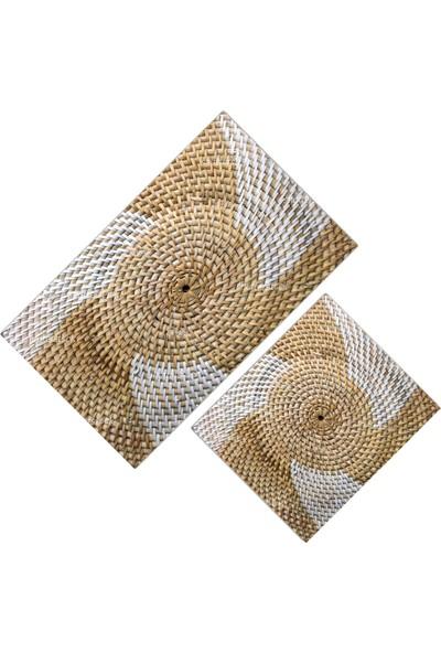 Cici Halı Hasır Beyaz Örgü Temalı Klozet Takımı-60x100-50x60