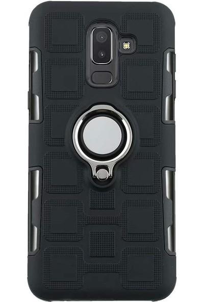 Teleplus Samsung Galaxy J8 Yüzüklü Tank Kapak Kılıf Siyah + Nano Ekran Koruyucu