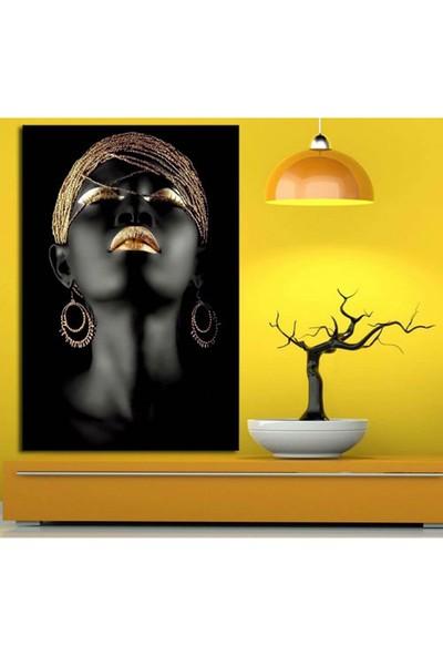 Sibiro Afrikalı Kadın Tabloları Altın Rengi Zk1 50 x 70 cm
