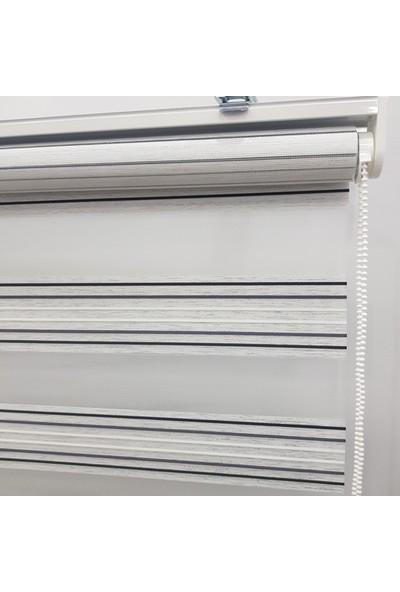 Dekoronyedi Siyah Gri Mikro Piliseli Zebra Perde Etek Oyması Figürlü 30X30