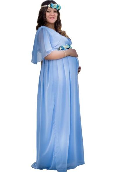 Moda Labio Babyshower Melek Kol Bebe Mavi Hamile Elbisesi