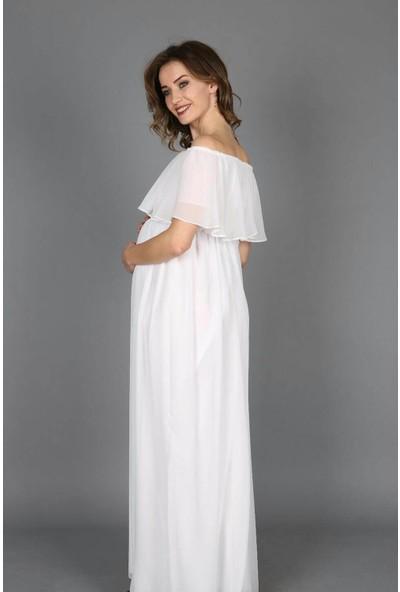 Moda Labio Babyshower Şifon Düşük Omuz Beyaz Hamile Elbisesi