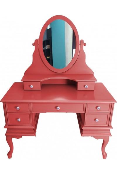 Masifart 4572 Makyaj Masası Kırmızı Patine Aynalı Makyaj Masası