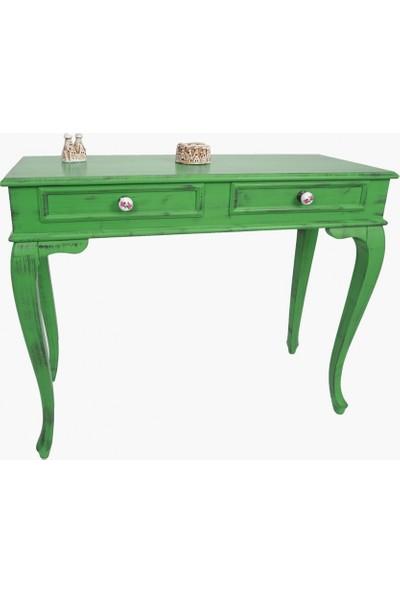 Masifart Marie 120 cm Yeşil Eskitme Dresuar Çekmeceli Makyaj Masası Patine Boyalı
