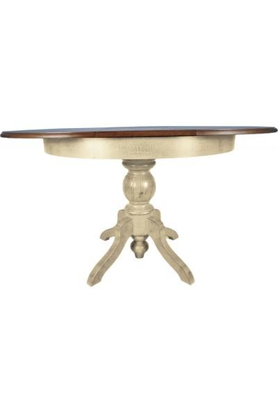 Masifart Baba Ayak Masa Yuvarlak Yemek Masası Beyaz Meşe 120 cm