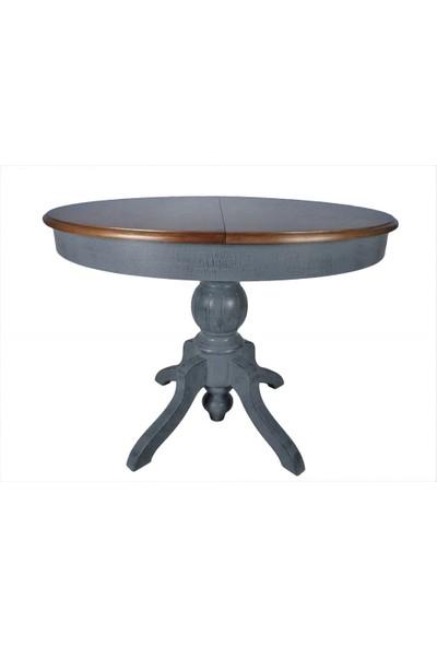 Masifart Baba Ayak Masa Yuvarlak Yemek Masası Antrasit 120 cm